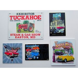 Aluminum ID Plate/ Dash Plaque falling between 25-35 sq. in w/ a Full Color, Sublimated imprint.